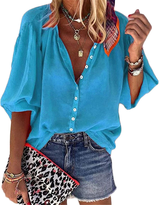 Andongnywell Women's V Neck Long Sleeve Shirts Button Down Top Chiffon Shirts Tops Blouse Tunics Ladies