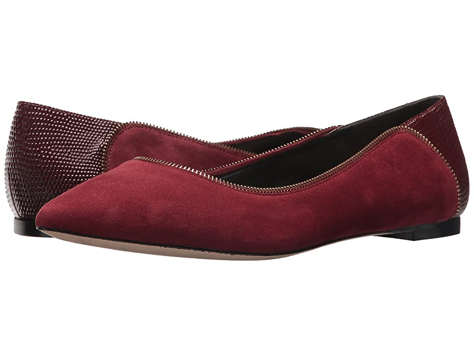 Donna Karan Netta Flat (Oxblood Embossed Lizard) Women