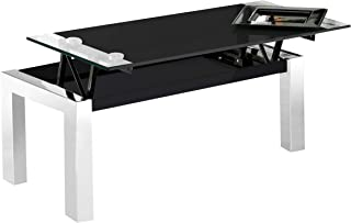 Universal, Mesa de Centro Fija de Cristal Templado y Estructura Metálica, Acabado en Color Negro, Medidas: 112 cm (Largo) ...