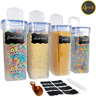 Cereal Storage Container 4 Pack - Large 100% Airtight Bpa Free & Food Grade Silicone Seal Cereal Containers For Dry Food, Snack, Rice & Pasta With 8 Free Labels, Erasable Marker Pen & Handy Scoop