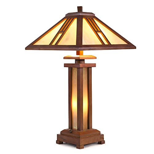 Cloud Mountain Tiffany Style 15 Lampshade Wooden Table Lamp Mission Double Lit Design Lighting Wood