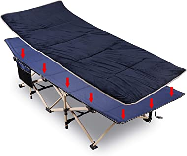 """REDCAMP Folding Camping Cots with Pad for Adults Heavy Duty, 28"""" Wide Sturdy Portable Sleeping Cot for Camp Office Use, Blue"""