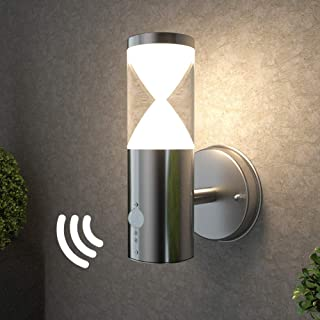 NBHANYUAN Lighting LED Outdoor Wall Light Fixtures with Motion Sensor Exterior Wall Sconce Acrylic Stainless Steel Weatherproof 3000K Warm Light Front Door Porch Light 110V 500LM [Energy Class A+]