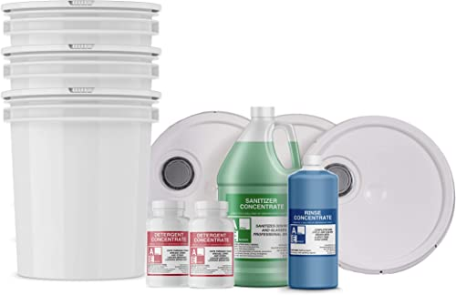Starter Pack w/buckets (1-Detergent, 1-Sanitizer, 1-Rinse), Commercial Grade,