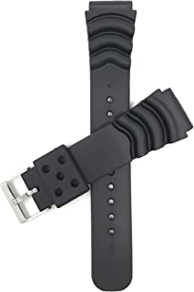 Bandini Black Rubber Sports Watch Band Strap for Seiko Diver Models and More, Ocean Ripples (22mm)