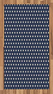 Ambesonne Star Area Rug, Patriotic Star of The American Flag Independence Themeds of Freedom, Flat Woven Accent Rug for Living Room Bedroom Dining Room, 2.6' x 5', Night Blue