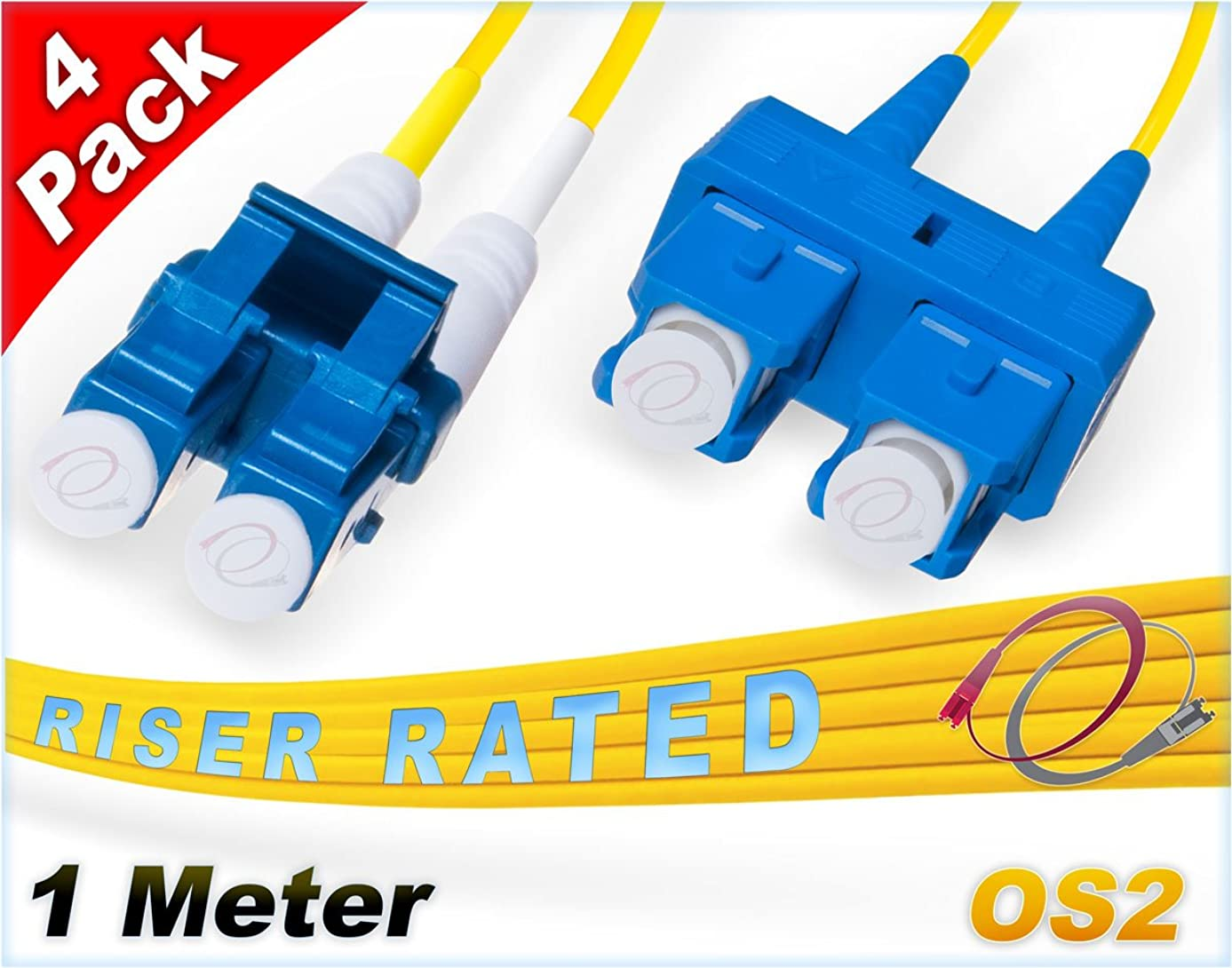 FiberCablesDirect 4Pk 1M OS2 LC SC Single Mode Fiber Patch Cables - 4 Pack | Duplex 9/125 LC to SC Singlemode Jumper Cord 1 Meter (3.28ft) | Pack Options: 2, 4, 6, 10, 12, 24 | pvc sm patch-cord lc-sc