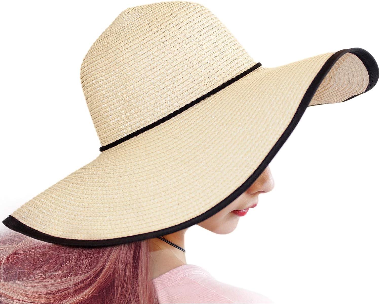 TouchandFeel Beach Hats for Women Girls Straw Sun Hat Foldable Floppy Wide Brim Summer Caps