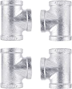 PIPE DÉCOR 1 in. Authentic Galvanized Malleable Iron Tee, 4 Pack, for DIY Pipe Furniture Building and Regular Plumbing Applications