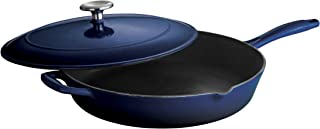 Tramontina 80131/068DS Enameled Cast Iron Covered Skillet, 12-Inch, Gradated Cobalt