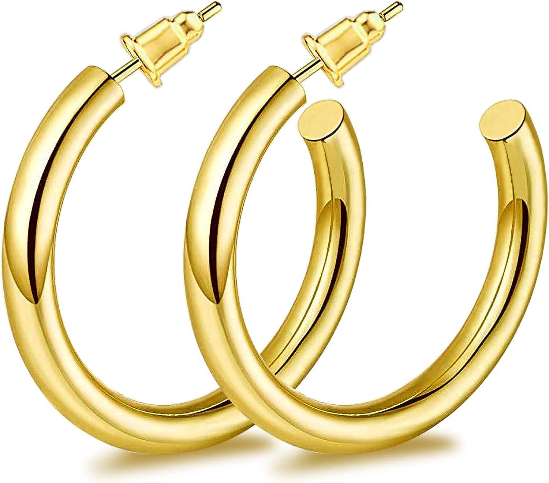 ZRO Gold Hoop Earrings 316L Surgical Stainless Steel Hypoallergenic Lightweight Chunky Open Hoop Earrings for Women and Girls(20MM/30MM)