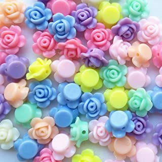 Mosheng Accessory 150pcs Mix Lots Rose Flowers Acrylic Charm Necklace Bracelet Chain Jewelry Making Colorful Beads Diy Craft Supply