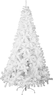 Feelway Artificial Christmas Tree Xmas Tree Pine Tree Premium Spruce White Tree Hinged for Holiday Decoration w/Solid Metal Stand Outdoor Indoor Use (White, 7 ft)