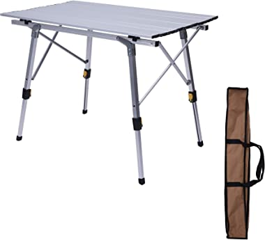 LUCKYERMORE Outdoor Folding Portable Picnic Camping Table with Aluminum Legs Adjustable Height Roll Up Table Top Lightweight