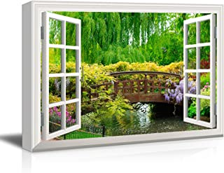 wall26 3D Visual Effect View Through Window Frame Canvas Wall Art - Japanese Style Bridge in a Beautiful Garden - Giclee Print Gallery Wrap Modern Home Decor Ready to Hang - 32x48 inches