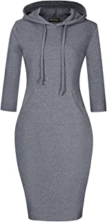 Women's Hoodie Dress Pullover Hoody Dress Casual Fitted Knee Length Sweatshirt with Pocket
