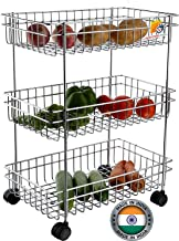 AMAZING MALL (LABEL) Stainless Steel Silver Multipurpose Storage Shelf, Kitchen Rack -Triple Tire Trolley