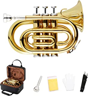 EastRock Pocket Trumpet Bb Gold Lacquer with Standard Trumpet 7C Mouthpiece,Hard Case,Strap,White Gloves and Cleaning Cloth