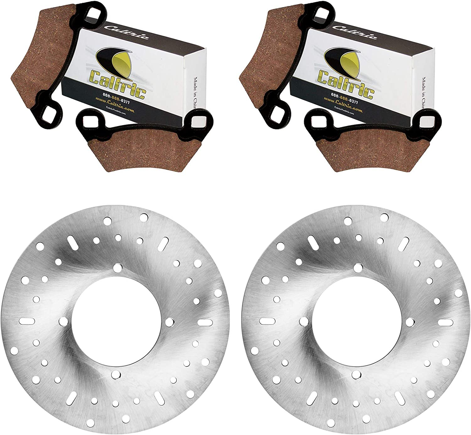 Caltric 2 Front Brake Disc Rotor with Pads Polari Compatible And New item Cheap SALE Start
