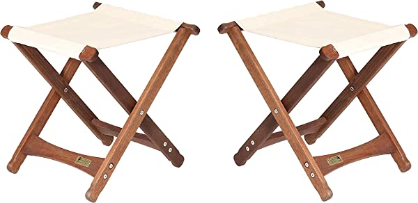BYER OF MAINE Pangean Folding Stool Hardwood Easy To Fold And Carry Wood Folding Stool Canvas Camp Stool Perfect For Camping Matches All Furniture In The Pangean Line Natural Two Pack