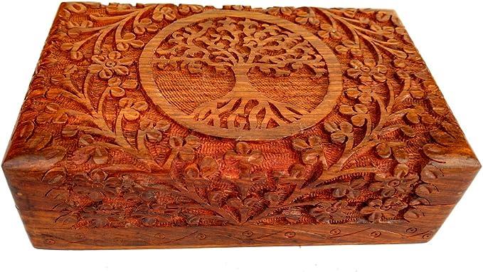 142 opinioni per Rastogi Handicrafts, scatola in legno pregiato intagliato a mano, con albero