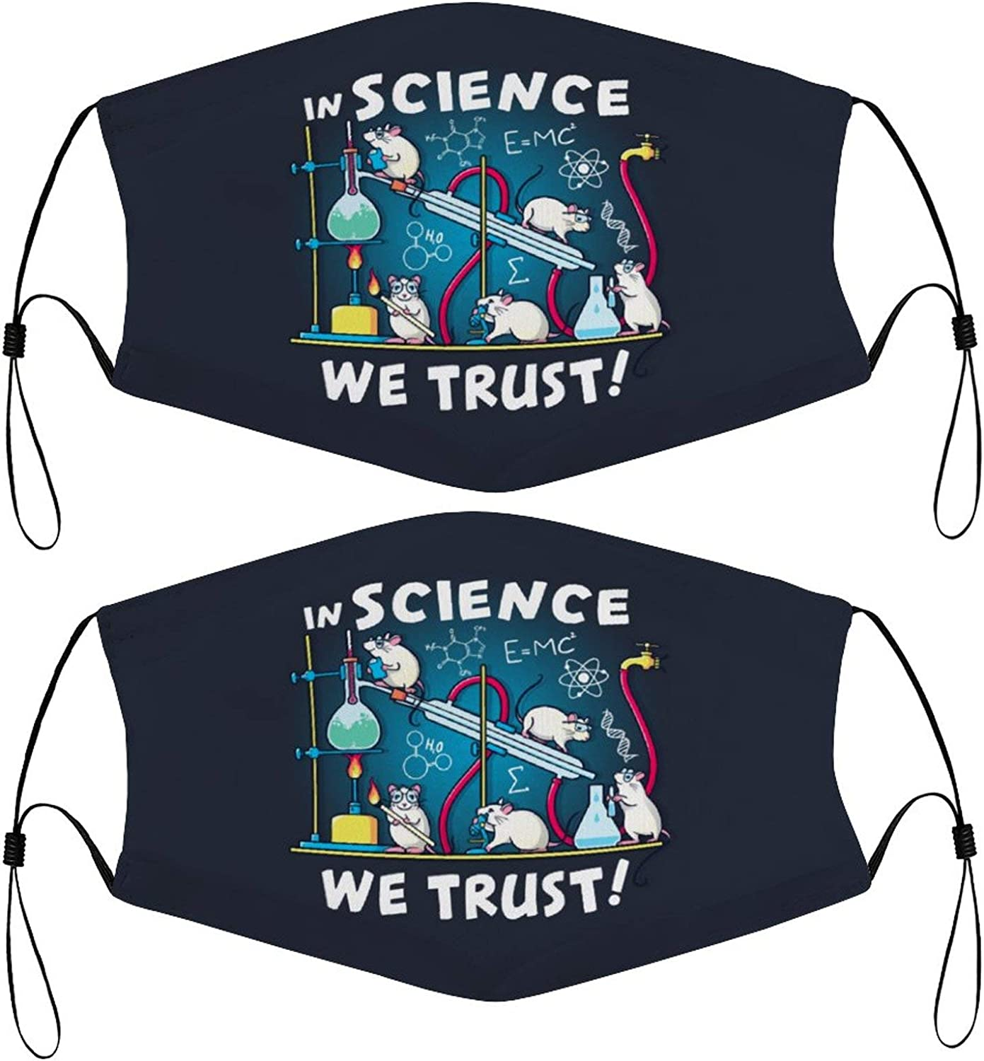Funny Mice Scientists Science Cute Kids Face Masks Set of 2 with 4 Filters Washable Reusable Breathable Black Cloth Bandanas Scarf for Unisex Boys Girls