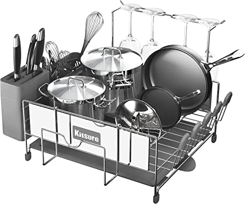 new arrival Kitsure Dish Drying discount Rack, Large Kitchen Dish Rack and Drainboard Set with Easy Installation, Durable lowest Stainless Steel Dish Rack for Counter with Drainage and Anti-Slip Silicone Caps sale