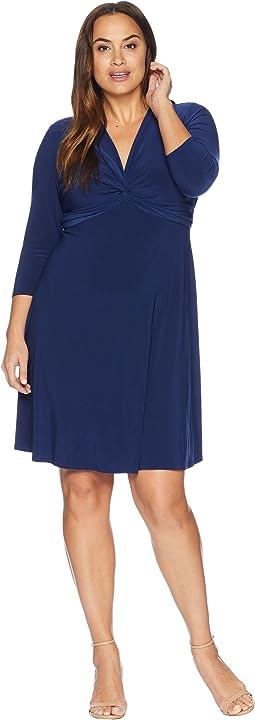 Plus Size Knit V-Neck Waisted Fit & Flare Dress
