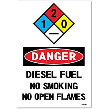 Black//Red on White Waterproof 10 high x 14 wide Indoor and Outdoor Use Danger: Fuel Storage No Smoking Self Adhesive Vinyl Sticker Rust Free UV Protected