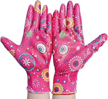 PROMEDIX Clear Nitrile Garden Working Gloves Comfort Flex Coated Work Gloves, Super Light Weight, Breathable, ML Size Fit Mos