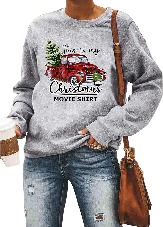 Merry Christmas Sweatshirt Women Christmas Plaid Leopard Tree Print Shirt Long Sleeve Holiday Shirts Tops