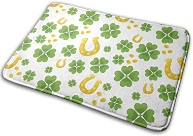 St. Patrick's Day Four-Leaf Clover Golden Coins Carpet Non-Slip Welcome Front Doormat Entryway Carpet Washable Outdoor In