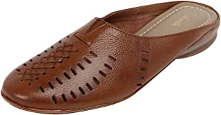 Catwalk Tan Leather Mules for Women's