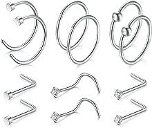 JFORYOU 12Pcs Nose Ring Nose studs Set 20G 316L Surgical Steel Nose Ring Nose Stud Nose Hoop
