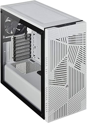 Corsair 275R Airflow Mid-Tower PC Gaming Case, Tempered Glass - White