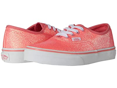 Vans Kids Authentic (Little Kid) ((Neon Glitter) Pink/True White) Girls Shoes