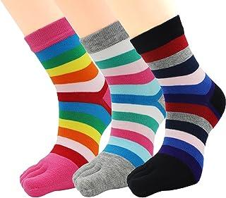 EEVASS, Verano Calcetines del Dedo del Pie de las Mujeres Calcetines Ocasionales del Equipo Deportivo de Cinco Dedos a Rayas 3 Pares