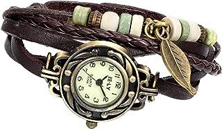 Avaner Orologio da Polso da Donna Ragazza Classico Vintage con Ciondolo Foglia Bracciale in pelle Colore Marrone Multifili