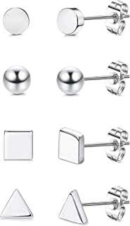 925 Sterling Silver Small Geometric Stud Earrings Set for Women Assorted Shapes Tiny Dot Ball Stud Earrings Square Triangle Earrings Set of 4 Pairs