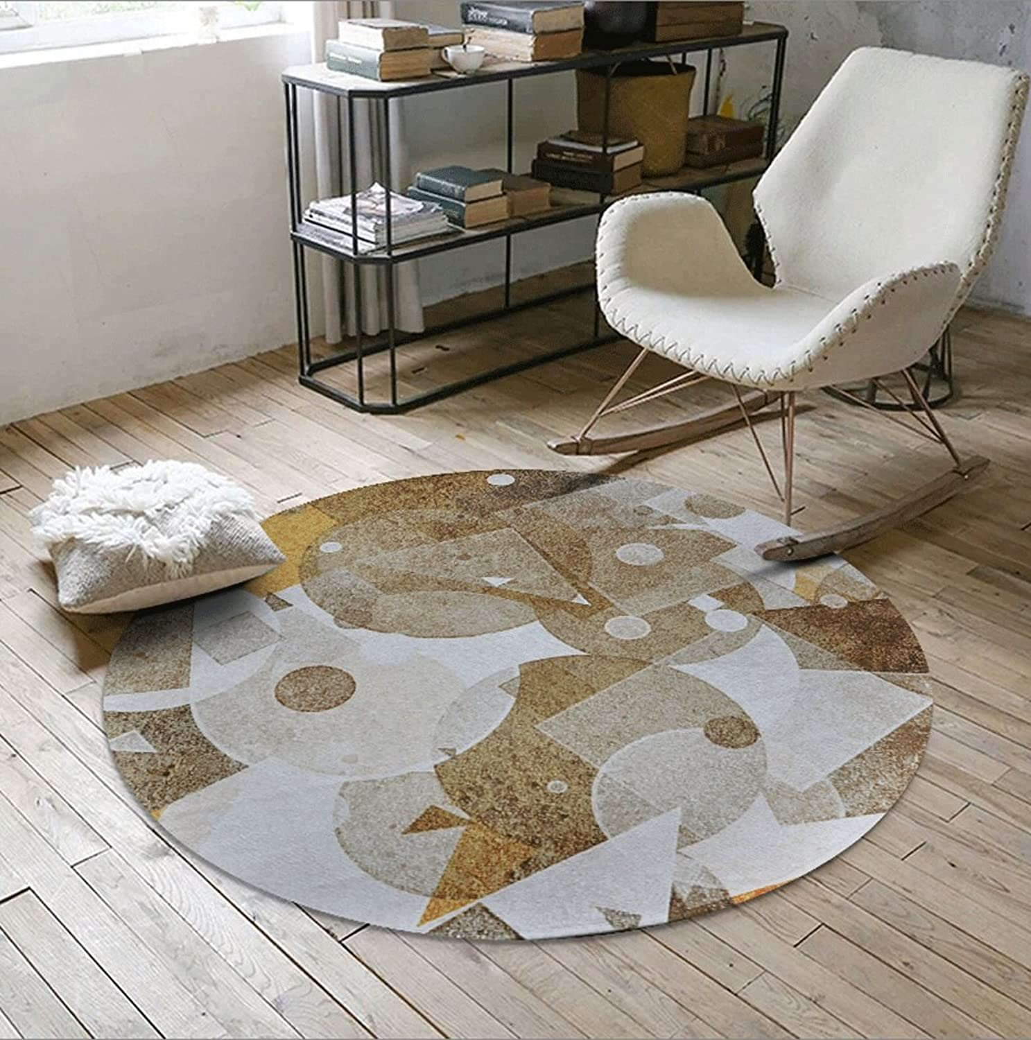 Nordic Geometric Round Carpet Living Room Bedroom Room Continental Round Carpet Hanging Computer Chair Mats Slip (color   E, Size   60cm(24inch))