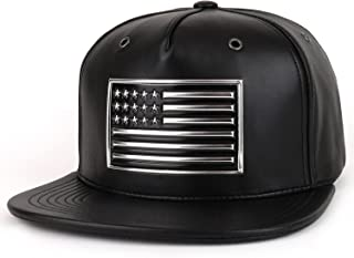 Trendy Apparel Shop High Frequency USA Flag Patch PU Leather Flat Bill Snapback Cap