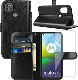 Moto G9 Power Case, Motorola G9 Power Wallet Case, with Screen Protector,PU Leather Wrist Strap Card Slots Soft TPU Shockp...