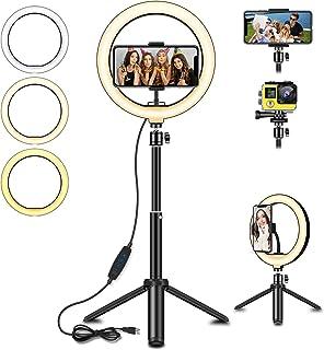 SYOSIN LED-ringlampa med utdragbart stativställ, 20 cm LED selfie-ringlampa & telefonhållare med 3 färglägen och 10 ljusst...