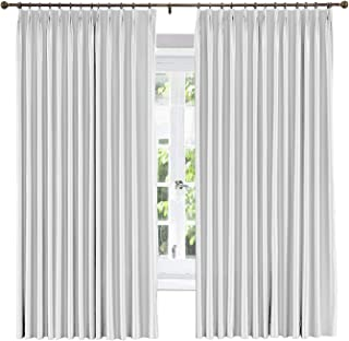 Cottontree Homesoft WExtra Wide Window Treatment Solid Cotton Silk Satin Curtain-Energy Saving Pinch Pleated Blackout Lined Drapery for Bedroom,100