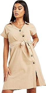 فستان متوسط الطول بازرار غير متماثلة واكمام قصيرة جدا وحزام للنساء