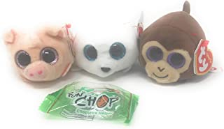 TY Teeny Bundle of 3, Includes Curly The Pig, Monkey Boo The Monkey, Slippery The Seal, and a Fun Chop Chopstick Helper