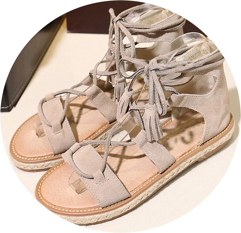AREBULE-sandal Women Lace-up shoes Peep Toe Flat Sandals Tassel Cross Tied Beach shoes Black Sandalia