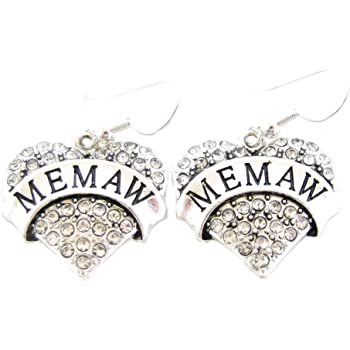 Grandma Heart Clear Crystals Silver French Hook Earrings Jewelry