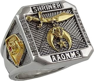 UNIQABLE Masonic Shriner Scottish Rite 32 Degree Ring 18K Gold Plated 35 Grams Templar BR-27