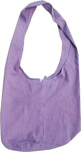 RaanPahMuang Brand Plain Cotton Yaam Monks Shoulder Bag, X-Large, Violet